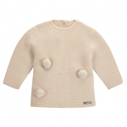 Garter stitch sweater with pompoms LINEN