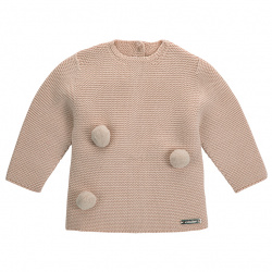 Garter stitch sweater with pompoms STONE
