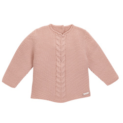 Front braided garter stitch sweater OLD ROSE