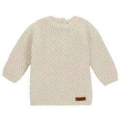 Pull tricot micro relief en merino mélange ECRU