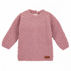 Pull tricot micro relief en merino mélange ROSE