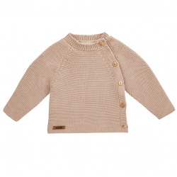 Button-front garter stitch sweater STONE