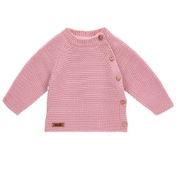Pull point mousse boutons devant PALE ROSE