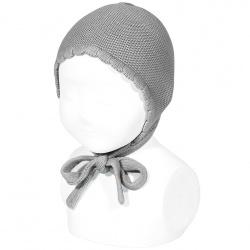 Bonnet point mousse en coton GRIS CLAIR