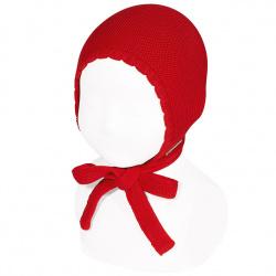 Bonnet point mousse en coton ROUGE