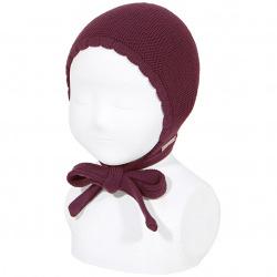 Bonnet point mousse en coton GRENAT