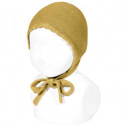 Bonnet point mousse en coton MOUTARDE
