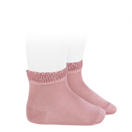 Calcetines cortos bolillo calado ROSA PALO
