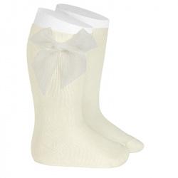 Chaussettes hautes unies avec noeud organza ECRU