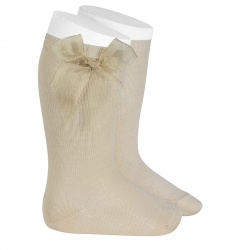 Knee high socks with organza bow LINEN