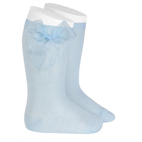 Chaussettes hautes unies avec noeud organza BLEU BEBE