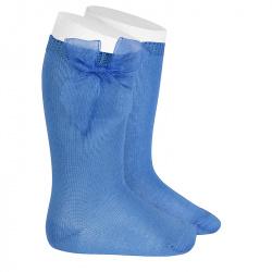 Chaussettes hautes unies avec noeud organza MAYA