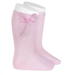 Chaussettes hautes unies avec noeud organza ROSE