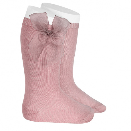 Knee high socks with organza bow PALE PINK