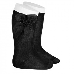 Chaussettes hautes unies avec noeud organza NOIR