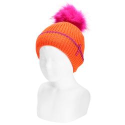 English stitch knit hat w/faux fur pompom ORANGE