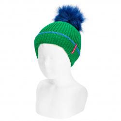 English stitch knit hat w/faux fur pompom BILLIARD GREEN