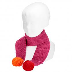 Sand stitch scarf with pompoms BUGAMBILIA