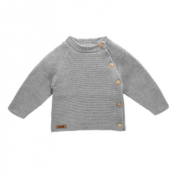 Button-front garter stitch sweater ALUMINIUM