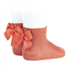 Garter stitch short socks with bow PEONY