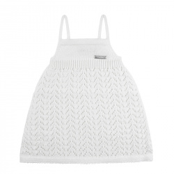 Spike stitch openwork dress WHITE