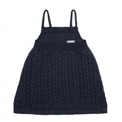 Spike stitch openwork dress NAVY BLUE