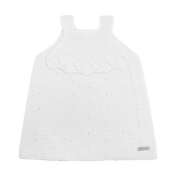 Links stitch openwork dress WHITE