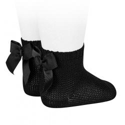 Garter stitch short socks with bow BLACK