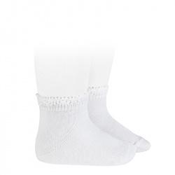 Ceremony short socks with openwork cuff WHITE