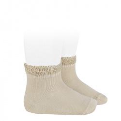 Ceremony short socks with openwork cuff LINEN
