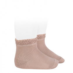 Ceremony short socks with openwork cuff OLD ROSE