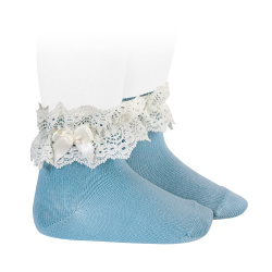 Lace trim short socks with bow CLOUD