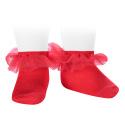 Calcetines tobilleros con tira de tul fruncido ROJO