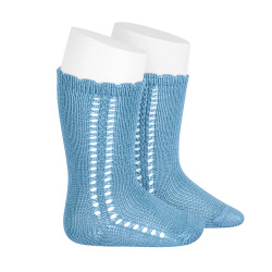 Side openwork perle knee high socks CLOUD
