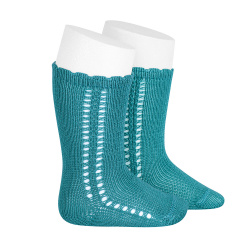 Side openwork perle knee high socks STONE BLUE