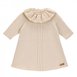 Front braided dress with flounced collar LINEN