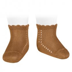 Calcetines cortos perlé con calado lateral CANELA