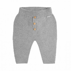 Garter stitch trousers with buttons ALUMINIUM