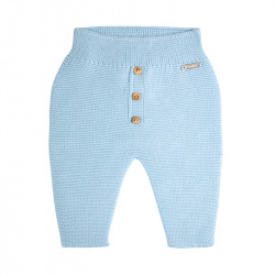 Garter stitch trousers with buttons BABY BLUE
