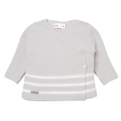 Breton stripe crossed sweater LINEN