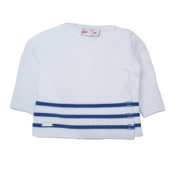 Breton stripe crossed sweater WHITE