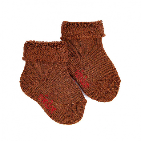 Wool terry short socks with folded cuff CHOCOLATE
