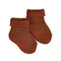 Chausson en laine bordure envers et tissu-éponge CHOCOLAT