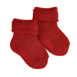 Wool terry short socks with folded cuff CAULDRON