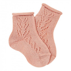 Side openwork extrafine perle short socks