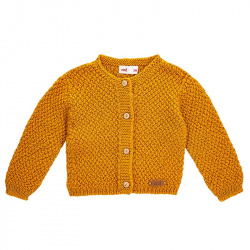 Merino blend cardigan in micro relief CURRY