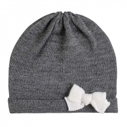 Baby merino wool-blend knit hat with bow LIGHT GREY