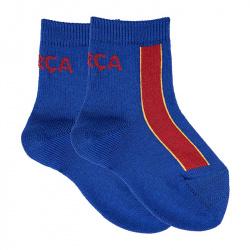 Baby short socks with vertical stripes barça