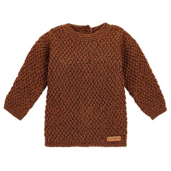 Pull tricot micro relief en merino mélange CHOCOLAT