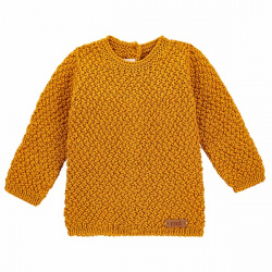 Pull tricot micro relief en merino mélange CURRY
